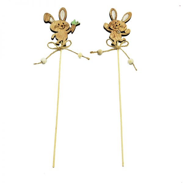 2 assorted garden sticks with easter rabbit for decoration