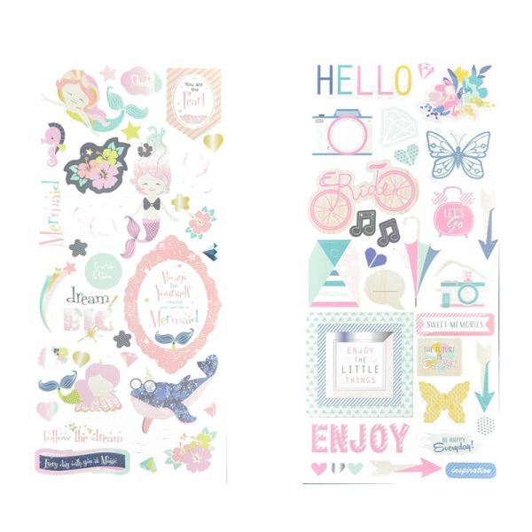 Custom design pattern on paper craft with sticker for scrapbooking