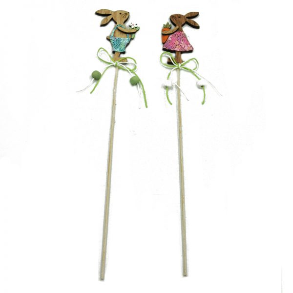 MDF sticks with easter rabbit for outdoor decoration