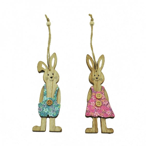 2 assorted easter rabbit hanger 2019 new design for home decoration