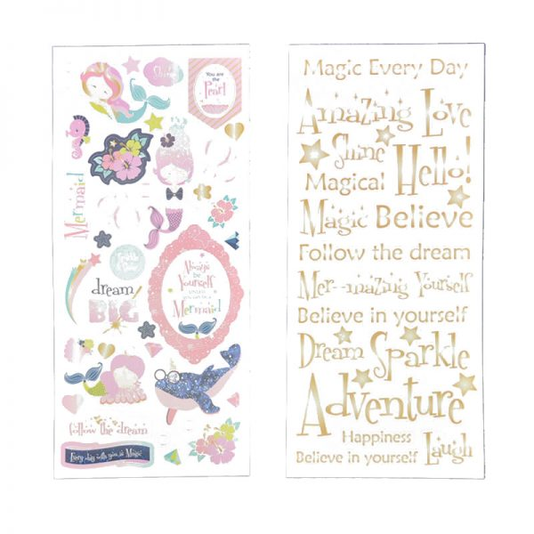 Pattern paper with sticker in custom design for hobby crafts