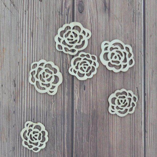 Laser cut flower design wood shape for hobby crafts